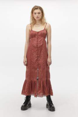 Urban Outfitters Lisbon Embroidered Satin Maxi Dress - brown XS at