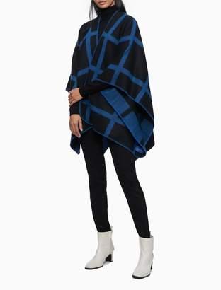 Calvin Klein Windowpane Woven Shawl