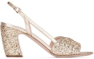 Miu Miu Glitter Heel Sandals
