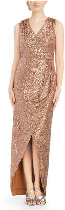 Calvin Klein Draped Sequined Gown