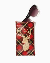 Charming charlie Reindeer Plaid Glasses Pouch