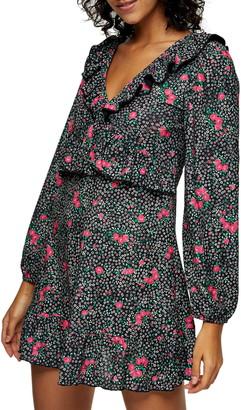 Topshop Double-V Long Sleeve Jersey Minidress