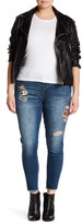 Jolt Patched Distressed Hem Jean (Plus Size)