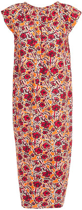 Marni Gathered Printed Cotton-poplin Midi Dress