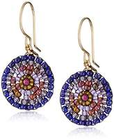 Miguel Ases Small Round Violet Earrings