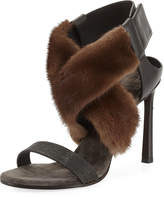 Brunello Cucinelli Mink Fur & Monili 100mm Sandal
