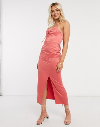 Topshop bustier slip midi dress in sorbet