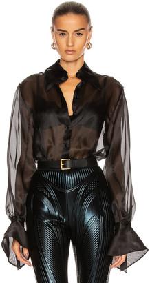 Thierry Mugler Sheer Button Down Bodysuit in Black | FWRD