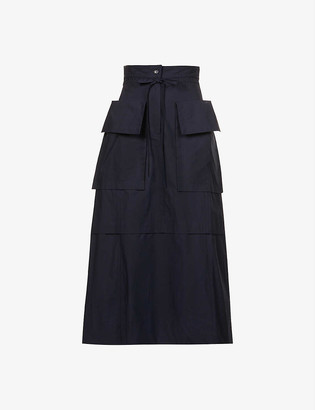 See by Chloe Utility high-waist cotton midi skirt