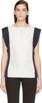 Lanvin White & Navy Silk Blouse