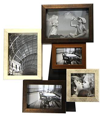Just Contempo Decorative Wood Metallic Collage Photo Frame, Multi