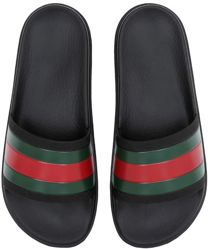Gucci Striped Web Rubber Slide Sandals