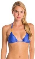 Vix Paula Hermanny Solid Blue Undersea Tri Detail Bikini Top 8129912