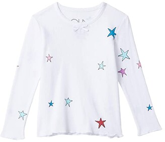 Chaser Thermal Scallop Edge Long Sleeve Tee w/ Bow (Toddler/Little Kids) (White) Girl's Clothing