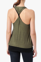 7 For All Mankind Double Layer Tank With Back Twist In Olive Shimmer