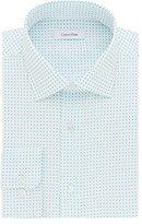 Calvin Klein Men's Non Iron Regular Fit Print Spread Collar Dress Shirt