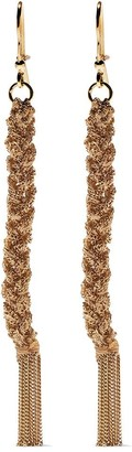 Carolina Bucci 18kt yellow gold and beige silk Lucky woven drop earrings