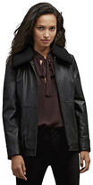 Kenneth Cole Leather Jacket With Shearling Collar