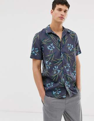 Paul Smith short sleeve floral print shirt in grey