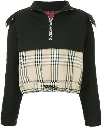 Andrea Crews Mixed Fabric Half Zip Hoodie