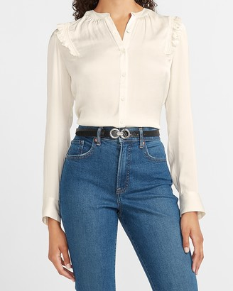 Express Ruffle Shoulder Button-Up Portofino Shirt