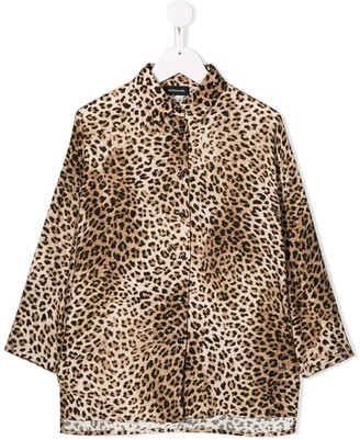 MonnaLisa Leopard-Print Long-Sleeve Shirt