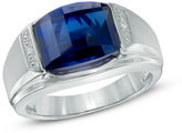 Zales Men's Barrel-Shaped Lab-Created Blue Sapphire and Diamond Accent Ring in Sterling Silver - Size 10