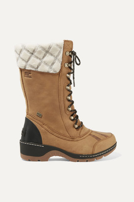 Sorel Whistler Wool-trimmed Waterproof Leather Boots - Tan