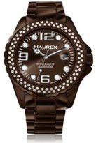 Haurex Italy Women's XK374DMM Ink Stones Brown Aluminum Crystal Date Watch