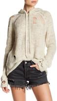Pam & Gela Distressed Knit Hoodie Sweater