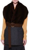 Marni Fur-Collar Belted Cape, Coffee