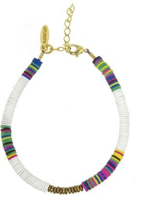 Allthemust White Heishi Bead Bracelet - Yellow Gold