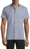 Vince Linen-Blend Short-Sleeve Shirt, Smoke