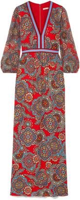 Alice + Olivia Jaida Printed Crepe And Plisse-chiffon Maxi Dress