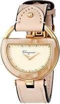 Salvatore Ferragamo Women's FG5070014 Diamond-Accented Stainless Steel Watch with Leather Band