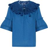 Rachel Zoe Janis Tasseled Macramé Lace-Paneled Cotton Top