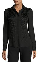 Prabal Gurung Feather-Embellished Pleated-Back Blouse, Black