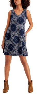 Style&Co. Style & Co Cross-Back Printed Dress, Created for Macy's