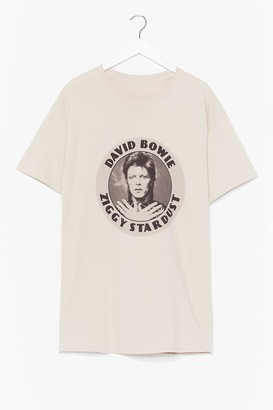 Nasty Gal Womens Ziggy Stardust Graphic Band Tee - Beige - S