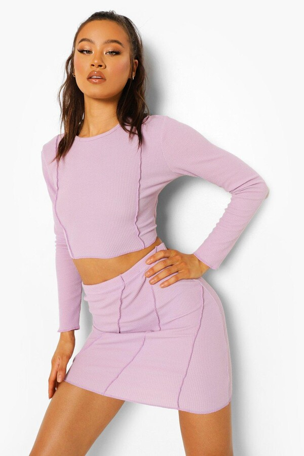 Thumbnail for your product : boohoo Crinkle Rib Exposed Seam Crop And Mini Skirt