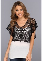 Roper 8747 Black Crochet Crop Top (Black) - Apparel