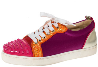 Christian Louboutin Multicolor Satin And Patent Leather Louis Junior Spikes Sneakers Size 39