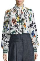 Tibi Gothic Floral Silk-Blend Edwardian Top