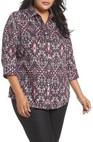 Foxcroft Plus Size Women's Ava Heirloom Paisley Print Cotton Shirt