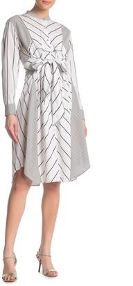 Diane von Furstenberg Jaylah Dual Print Tie Waist Dress