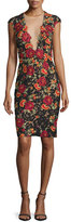 Jovani Cap-Sleeve Floral Open-Back Sheath Dress, Black/Multicolor