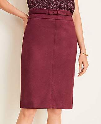 Ann Taylor Tall Faux Suede Belted Pencil Skirt