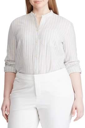 Chaps Plus Straight-Fit Linen Cotton Blend Button-Down Shirt
