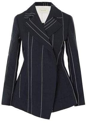 Cédric Charlier Double-breasted Pinstriped Linen And Cotton-blend Blazer