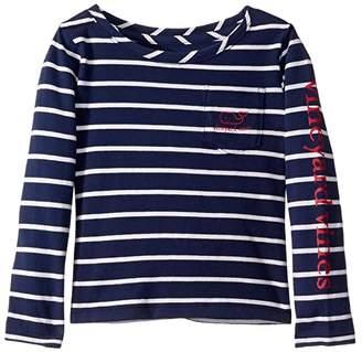 Vineyard Vines Kids Long Sleeve Striped Vintage Whale Tee (Toddler/Little Kids/Big Kids)
